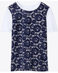 Tory Burch - Lace-front T-shirt - Lyst