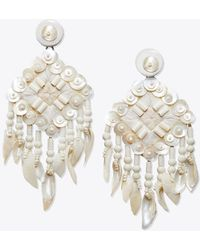 Tory Burch - Beaded Shell Statement Earring - Lyst