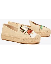 f0d964f9010334 Lyst - Tory Burch  Lonnie  Leather Logo Canvas Espadrille Flats in Gray