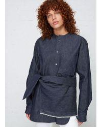 Y's Yohji Yamamoto - Layered Collarless Shirt - Lyst