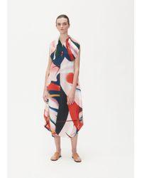 Issey Miyake - Bloom Pleated Shawl Neck Dress - Lyst