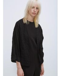 Grei. - Black Line Crinkle Cropped Kimono - Lyst