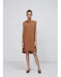 Kaarem - Copper Slab Back Pleat Sleeveless Dress - Lyst