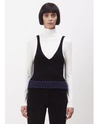 Xiao Li - Black Knitted Lusso Rib Tank Top With Details - Lyst