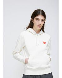 COMME DES GARÇONS PLAY - Ivory Red Heart Hooded Sweatshirt - Lyst