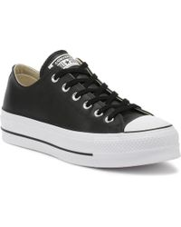 Converse - Chuck Taylor All Star Womens Black Lift Clean Ox Trainers - Lyst