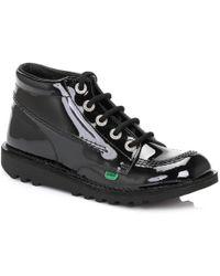 Kickers | Kick Hi Womens Black Patent Boots | Lyst