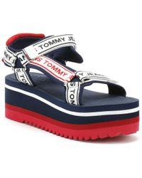 Tommy Hilfiger - Tommy Jeans Womens Midnight Blue Technical Flatform Sandals - Lyst
