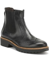 Cara Womens Jet Black Leather Sepia Brogue Chelsea Boots
