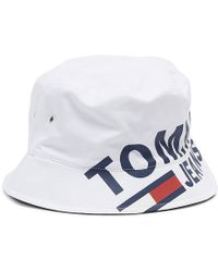 028c1946ce9 Tommy Hilfiger - Classic White Logo Reversible Bucket Hat - Lyst