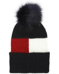 Tommy Hilfiger - Luxury Colour Blocked Navy Beanie - Lyst