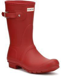 HUNTER - Original Womens Short Red Rubber Wellington Boots - Lyst