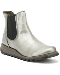 Fly London Womens Lead Silver Salv Borgogna Boots - Metallic