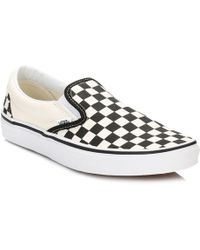 Vans - Black And White Og Checkerboard Classic Slip-on Trainers - Lyst