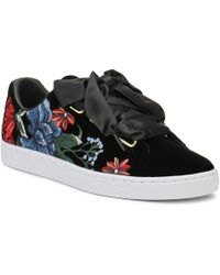 PUMA - Womens Black Basket Heart Hyper Embroidery Trainers - Lyst