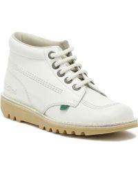 Kickers - Womens White Leather Kick Hi Boots - Lyst