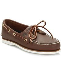 Timberland - Classic Mens Brown Leather Boat Shoes - Lyst
