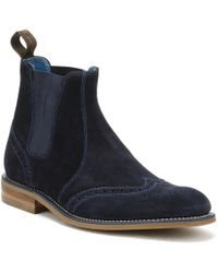 Loake | Mens Navy Suede Hoskins Boots | Lyst