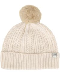Joules - Cream Beige Knitted Bobble Hat - Lyst