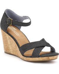 TOMS - Womens Black Denim Sienna Wedge Sandals - Lyst