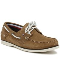 Tommy Hilfiger - Mens Taupe Classic Suede Boat Shoe - Lyst