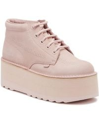 Kickers - Higher Stack Pink Nubuck Leather Boots - Lyst