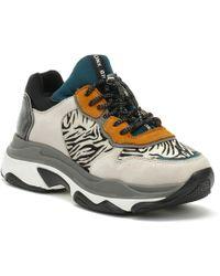 Bronx - Womens Light Grey / Zebra Baisley Chunky Trainers - Lyst
