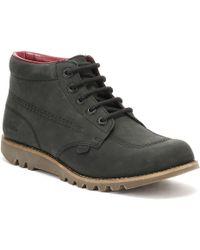 Kickers | Womens Black Leather Kick Hi Boots | Lyst