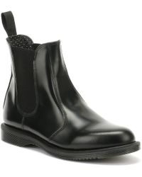 Dr. Martens - Dr. Martens Flora Womens Smooth Black Leather Boots - Lyst