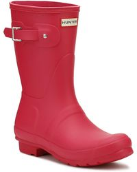 HUNTER Original Womens Bright Pink Short Wellington Boots