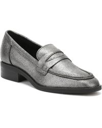TOWER London - Womens Silver Pulverized Leather Loafers - Lyst