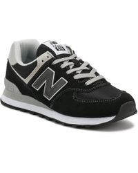 New Balance - Womens Black / White 574 Classic Trainers - Lyst