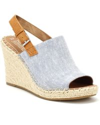 TOMS - Womens Blue Chambray Monica Wedges - Lyst