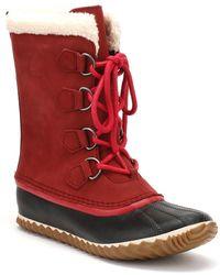Sorel - Womens Red Element / Black Caribou Slim Boots - Lyst