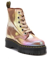 Dr. Martens - Dr. Martens Molly Iridescent Texture Womens Pink Boots - Lyst