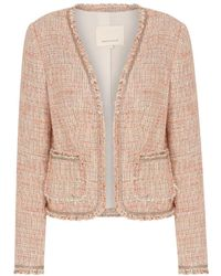 Rebecca Taylor - Tweed Jacket In Rosey Nude Combo - Lyst