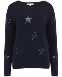 Jeff Knitwear - Clio Sequin Star Jumper In Navy - Lyst