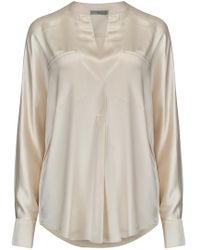 Vince - Collar Band Popover Blouse In Chiffon - Lyst