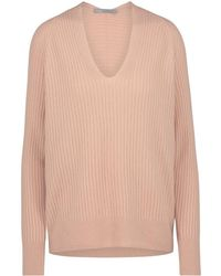 Vince - Raglan Ribbed V Neck Jumper In Quartz - Lyst