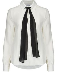FRAME - Pussy Bow Blouse In Off White - Lyst