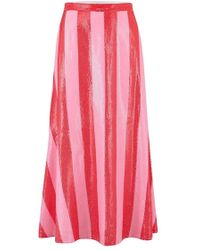 Olivia Rubin - Penelope Red And Pink Stripe Sequin Skirt - Lyst