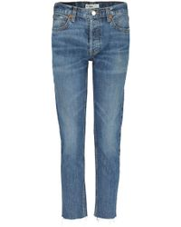 RE/DONE - Relaxed Crop Jean In Medium - Lyst