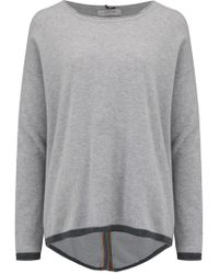 Cocoa Cashmere - Long Back Rainbow Jumper In Grey - Lyst