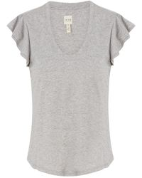 Rebecca Taylor - Washed Textured Jersey Top In Heather Grey - Lyst