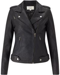 Trilogy - Leather Biker Jacket In Black - Lyst