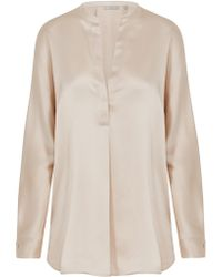 Vince - Band Collar Blouse In Rose - Lyst