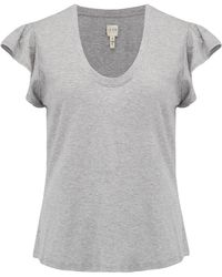 Rebecca Taylor - Washed Textured Jersey Top In Grey - Lyst