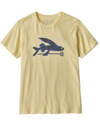 7e4b1b251 Patagonia - Ms Flying Fish Resin Yellow W Rain Ferns Organic T Shirt - Lyst