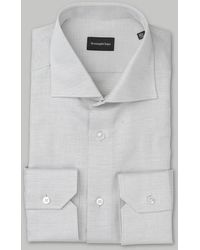 Ermenegildo Zegna - Camisa de lino gris Marl - Lyst