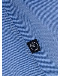 Armani Light Blue And White Micro Check Mandarin Collar Shirt